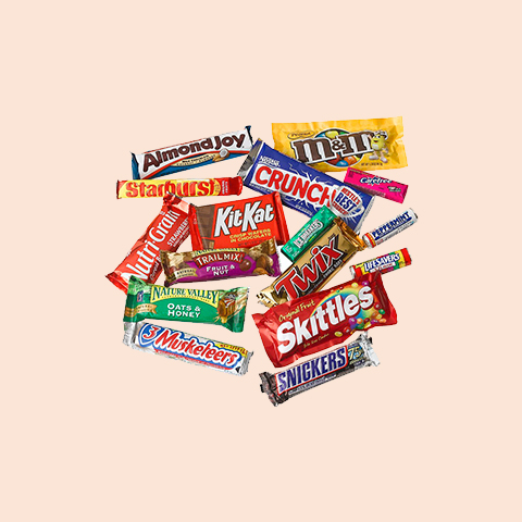 Our vending machines have chocolate bars and candy from your favorite brands