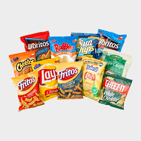 We offer a variety of chips in our snack vending machines.